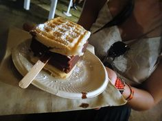 Chocolate dipped ice cream/cheese cake sandwiched by waffles? You will never go back - Coachella 2012