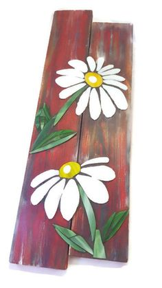 Stained glass daisies on reclaimed pallet wood / Mosaic wall art / pallet art / shabby chic decor - Pinturas - Holz Arte Pallet, Wood Pallet Art, Pallet Painting, Wood Pallets, Painting On Wood, Wood Wood, Wood Mosaic, Mosaic Wall Art, Glass Wall Art