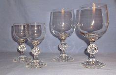 Vintage Crystal Bohemia Wine Goblets & Cordials - Claudia pattern - Set of 4