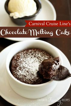 Carnival Cruise Line's Warm Chocolate Melting Cake - Favorite Family Recipes