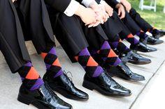purple, outdoor, groomsmen, orange, Michigan, socks, awesome idea
