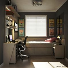 45 Fantastic Computer Gaming Room Decor Ideas and Design Single Bedroom, Small Room Bedroom, Small Rooms, Small Apartments, Home Bedroom, Small Spaces, Bedroom Decor, Bedrooms, Dorm Room