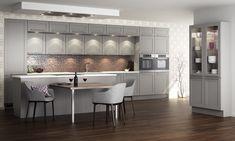 Huseby Kjøkken modell Muskat Kalk Graa Bad, Cool Designs, Cool Stuff, Table, Furniture, Home Decor, Coat Racks, Decoration Home, Room Decor