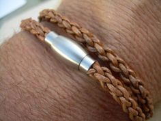 Mens Leather Bracelet Double Wrap Natural by UrbanSurvivalGearUSA, $25.99
