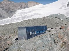 Image 2 of 23 from gallery of New Mountain Hut At Tracuit / Savioz Fabrizzi Architectes. Photograph by Thomas Jantscher Contemporary Architecture, Interior Architecture, Small Buildings, Mountain Climbing, Climbers, Building Materials, Cottage Style, Around The Worlds, Photos