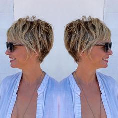 Brown Pixie Bob With Blonde Highlights