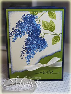 handmade greeting card from Micheles Cards  ... two step stamping .... wisteria branches ... torn and inked edges ... like the way the ribbon wraps around the main panel and ends in a knot in the open spot left by the uneven torn edge ... beautiful card! ... Stampin' Up!