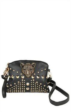 Deb Shops Small Handbag with Leopard Head, Zipper Top and Wrist Strap