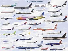 USA Domestic Airline Chart - Airlines and Aircraft in Different Liveries