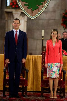 04 June - Crown Prince Felipe and Crown Princess Letizia of Spain attend the 'Principe de Viana' 2014 award and Tribute to the Navarra Old Royals at San Salvador de Leyre Monastery in Navarra, Spain.