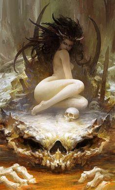 by Chen Zhe, 陈哲. (fantasy art, female demon with horns)