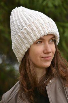 5f81cc04ad Women's white/milk hand knitted hat, Winter warm hat, White beanie