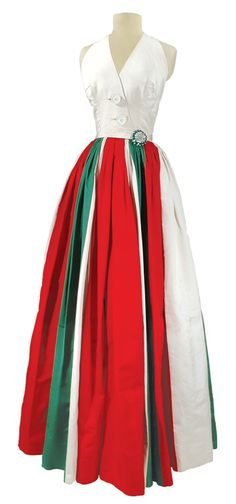 Galanos Tri-Color Silk Faille Ballgown   American, Fall 1955   Ivory faux surplice halter neck bodice with two buttons at center front, thin attached self belt, controlled tightly pleated voluminous skirt in vertically woven stripes of red, ivory and emerald,