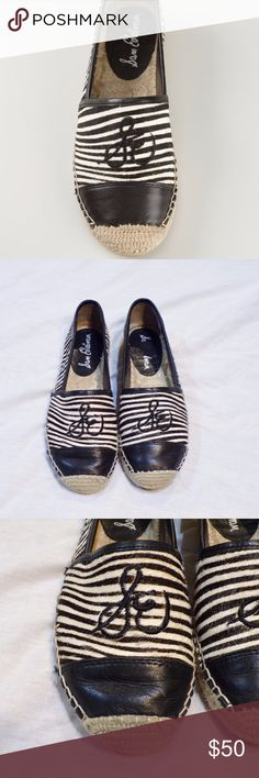 "Sam Edelman Striped Espadrilles Slip On Flats ""Lewis"" style shoe. Black and white striped. Tan tweed. Espadrille style. Slip ons. Cursive ""SE"" on front. Sam Edelman Shoes Espadrilles"