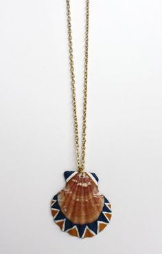 Sea Shell Necklace Pendant Necklace  Navy Blue by SeashoreLove