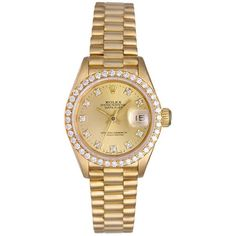 Pre-owned Rolex President Ladies Yellow Gold Custom Diamond Watch ($6,500) ❤ liked on Polyvore featuring jewelry, watches, accessories, gold jewelry, pre owned watches, 18 karat gold watches, 18k gold watches and gold diamond jewelry