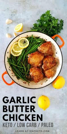 Garlic Butter Keto Chicken Thighs A delicious quick and easy keto chicken recipe to add to your repertoire. Garlic butter green beans and chicken thighs unite for a delicious keto meal! Keto Chicken Thighs, Keto Chicken Thigh Recipes, Chicken Recipes, Chicken Breasts, Chicken Skin, Potato Recipes, Keto Foods, Keto Meal, Lchf Diet