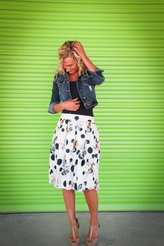 Estella: modest multi-print polka dot midi skirt available in white, navy and black S-XL. #pentecostalfashion