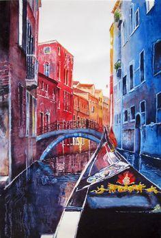 Venice Gondola Ride  original watercolor painting by PatChoffrut