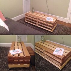 Just made, wooden pallet coffee table or entertainment center table. Matte-finish polyurethane (smooth) top and sides. Easy storage shelving