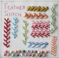 Feather Stitch Sampler by flossbox, via Flickr