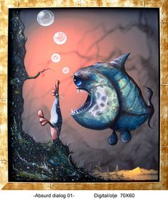 ABSURD DIALOGUE 02 (Digital/oil cm) Two creatures from separate worlds. Two languages, two bodies. Seems to me an absurd dialogue but the fruits are sweet and new. Fish Art, Illustration, Creatures, Digital, World, Artist, Languages, Separate, Bodies