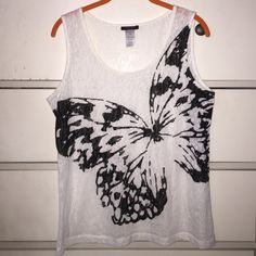 mark. Butterfly Bliss Tank NWOT (Never Worn) Burnout Sleeveless Tank with Butterfly Graphic...Fits M-L...65% Polyester 35% Cotton...About 24 inches in length...Comment for more details! Avon Tops Tank Tops