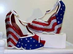 Women Custom Made STARS And STRIPES AMERICAN Flag Wedge Sandals All Sizes