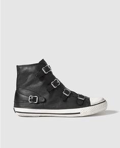 Zapatillas de piel Ash negras con hebillas