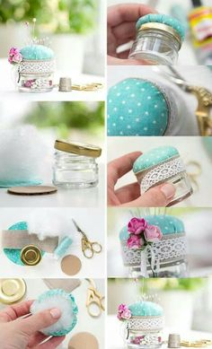 A DIY pin cushion is super easy to make and the best way to guarantee you will never lose your pins again. Jar Crafts, Bottle Crafts, Diy And Crafts, Easy Sewing Projects, Sewing Crafts, Diy Projects, Diy Cushion, Creation Couture, Diy Pins