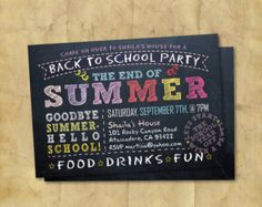 Back to School Party Invitation. End of Summer by AngelinaWorks