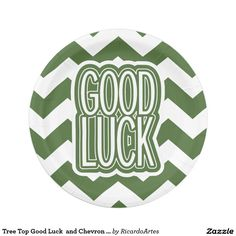 Tree Top Good Luck  and Chevron Pattern 7 Inch Paper Plate