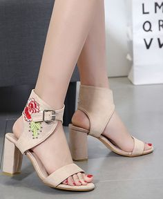d89c4ca784b6 Hollow Out Back Heel Embroidered Sandals(size  SHOES Wholesale clothing