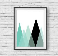 Mint Mountain Print Scandinavian Decor Minimalist Art Geometric Poster Triangle Art Abstract Print Modern Wall Art Mint Nursery Decor