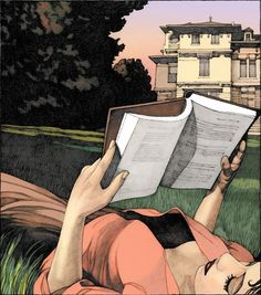 Illustration by Miles - ) - Girl Reading in Lawn. I Love Books, Good Books, Books To Read, Children's Books, Reading Art, Woman Reading, Girl Reading Book, Portraits, Art And Illustration