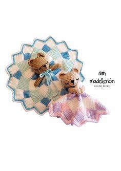 Tunisian crochet baby lovey security blanket teddy bear - Madelenon - Ravelry