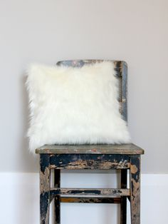 White Fox Faux Fur Pillow,  Off white fur pillow, pillow, faux fur cushion cover, winter decor, fur decor by northwestdecor on Etsy