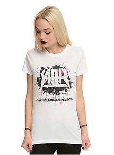 <p>Fitted white tee featuring a pink & black splatter effect All-American Rejects lightning logo design on the front.</p><ul><li>100% cotton</li><li>Wash cold; dry low</li><li>Imported</li><li>Listed in junior sizes</li></ul>