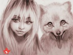 Ladies and germs I'm proud to officially kick off  #CanadaWeek celebrating #Canadian #wildlife and their #beautiful #internet #models. I'll be featuring a daily100% Canadian made #dame with a native #canuck #critter.  Our very lovely @celestinepaige features this #selfie with an #arctic #fox named #Waffles. These foxes are not #white all the time and Waffles is in his transition period into #Sumner coat. So he's an #oreo. ... ... #canada #character #characterdrawing #characterdesign #cute…