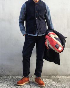 @zino.l wearing our chore waistcoat along side rogue territory, Gloverall and Santarosa