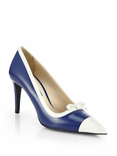 Incorporates both blue and white! Prada - Bicolor Leather Bow Pumps - Saks.com