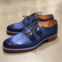 Men New Blue Color Monks Double Buckle Strap Burnished Derby… – Shoes Blue Shoes, Men's Shoes, Shoe Boots, Dress Shoes, Shoes Men, Dress Clothes, Shoes Style, Denim Vintage, Vintage Shoes