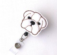 English Bulldog  Name Badge Holder  Cute Badge by BadgeBlooms, $6.00