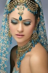 Beautiful Blue Headdress Indian Wedding Dress - http://casualweddingdresses.net/indian-wedding-dresses-step-into-a-world-of-color-bliss-and-refined-elegance-with-the-latest-indian-wedding-dresses/