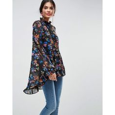 ASOS Kimono Sleeve Blouse In Chiffon In Dark Floral (73 CAD) ❤ liked on Polyvore featuring tops, blouses, multi, chiffon tops, shiny blouse, flower print blouse, oversized blouse and floral chiffon top