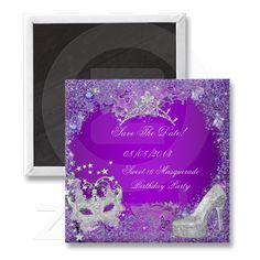 Save The Date Sweet 16 Masquerade Purple Pink Fridge Magnet