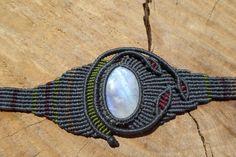 rainbow moonstone macrame stone bracelet,gemstone bracelet,macrame jewelry,asymetric wide bracelet,moonstone jewelry,thread bracelet,boho by ARTEAMANOetsy on Etsy
