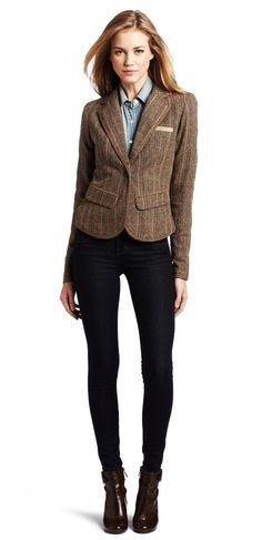 Tweed Blazer, black slacks, chambray shirt, ankle boots