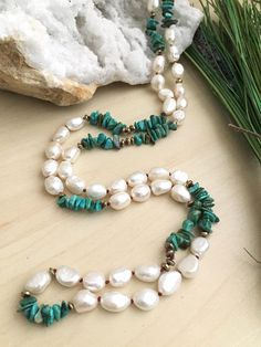 White Freshwater Pearl and Turquoise Necklace Hand knotted Bead Jewellery, Pearl Jewelry, Crystal Jewelry, Wire Jewelry, Jewelry Art, Beaded Jewelry, Jewelery, Jewelry Necklaces, Jewelry Design
