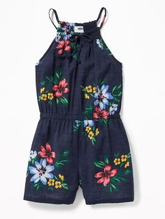 Old Navy Cinched-Waist Smocked-Neck Romper for Girls Cute Girl Outfits, Cute Outfits For Kids, Cute Summer Outfits, Baby Girl Dresses, Girls Fashion Clothes, Toddler Fashion, Kids Fashion, Disney Baby Clothes, Cute Baby Clothes